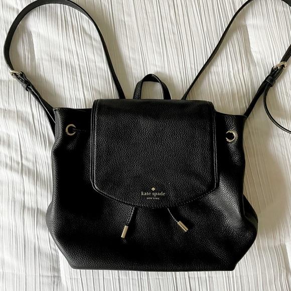 Kate Spade Drawstring Black Leather Back Pack